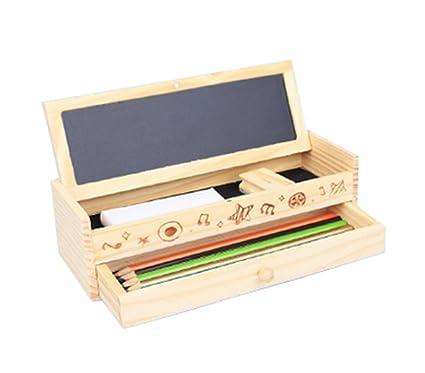 Leisial Caja de Lápices de Madera para Lápices Pluma Artículos de Papelería para Cajones Lápiz de los Niños (Multifunción)