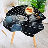 aolankaili Round Tablecloth Polyester-Solar System All Eight Planets and The Sun Pluto Jupiter Mars Venus Science Great for Buffet Table, Parties, Holiday Dinner & More 50'' Round