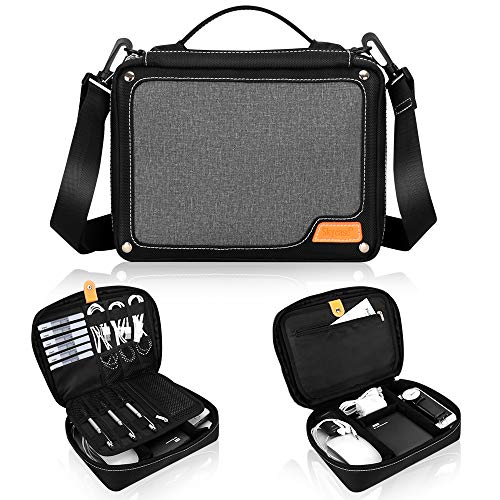 Electronic Accessories Organizer Cable Organizer Bag, Skycase Travel Gadget Bag for Cables, Cord, USB Flash Drive, Plug, Power Bank, with Detachable Shoulder Strap and Padded Dividers, Black (Memory Stick Strap)