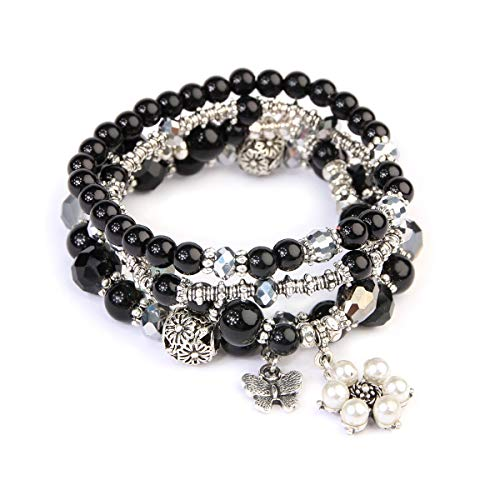 Charms Beaded Black (RIAH FASHION Bohemian Multi Strand Faux Pearl Bracelets - Layer Beaded Statement Stretch Lovely Crystal Charm Bangles Flower, Star, Heart (Flower & Butterfly - Black))