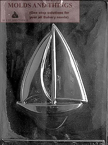 MOLDS AND THINGS Large Sailboat Chocolate Candy Mold with Copywrited Candy Making Instruction