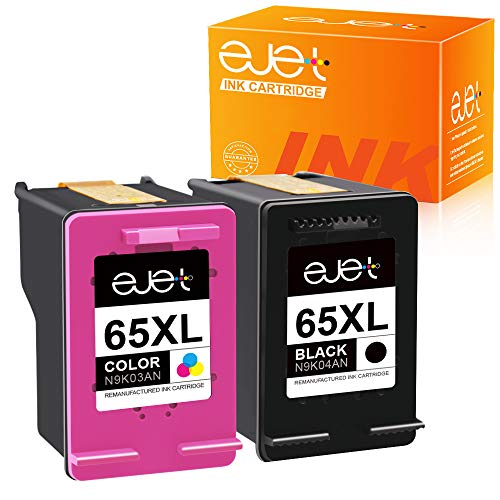 ejet Remanufactured Ink Cartridge Replacement for HP 65 XL 65XL High Yield Ink Cartridge to use with Envy 5052 5055 5058 DeskJet 2622 3755 2624 2652 2655 3720 3752 3721 3722 3723 3758 Printer (2 Pack)