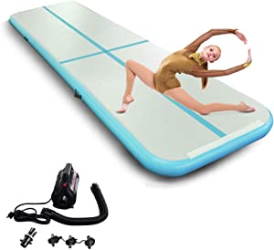 Inflatable Gymnastics Mats 4/8 inches Thick Tumbling Mat Gymnastic Training Mat for Home Using/Jumping/Beach/Water/Yoga/Practice Gym with Pump
