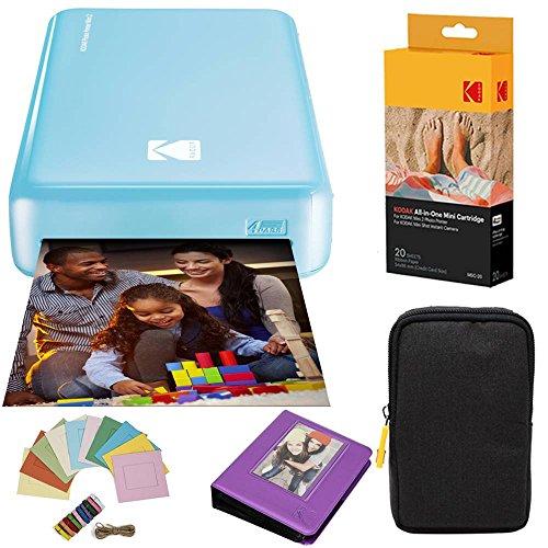 Kodak Mini2 Instant Photo Printer (Blue) Deluxe Bundle + Paper (20 Sheets) + Deluxe Case + Photo Album + Hanging Frames