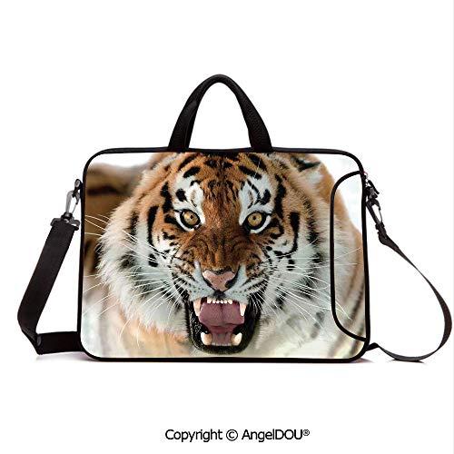 AngelDOU Laptop Sleeve Notebook Bag Case Messenger Shoulder Laptop Bag The Siberian Tiger Roar Teeth Golden Eyes Stripes Whiskers Attack Predator White Compatible with MacBook HP Dell Lenovo