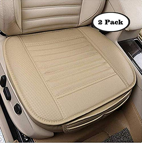 - Skysep 2 PCS PU Leather Bamboo Charcoal Breathable Comfortable Car Seat Cover Cushion Pad Mat for Auto Supplies Office Chair Seat Without Backrest (Beige)