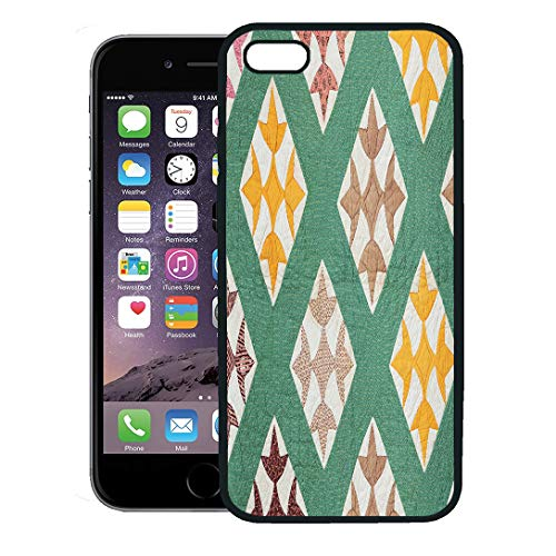 (Semtomn Phone Case for iPhone 8 Plus case,Green Pattern Antique Hand Made Quilt from The Eastern Us in Late 1800S Yellow Vintage iPhone 7 Plus case Cover,Black)