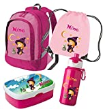 Set-Variante 5: Kinderrucksack Bicolor + Brotdose Rosti Mepal + Turnbeutel + Trinkflasche Pop up (Rosa)