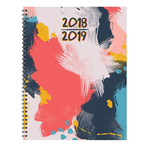 TF Publishing 19-9715A July 2018 - June 2019 Abstract Large Weekly Monthly Planner, 9 x 11, Pink, Blue & Gold