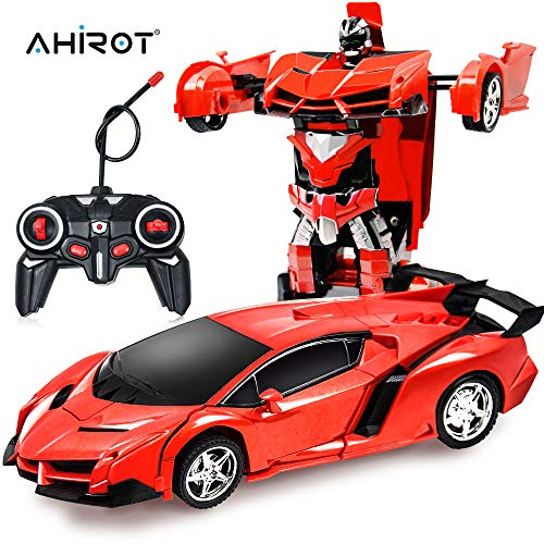 AHIROT RC Car for Kids Transform Car Robot, Deformation Car Model Toy 1:18 Transformation Remote Control Vehicle for Children Perfect for Birthday Gift (Red) (Remote Controller Car)