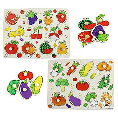 Hillento Wooden Pegged Puzzles, Children Wooden Jigsaw Pegged Puzzle, Learning Preschool Early Education Toys and Games for Kids, Set of 2, Vegetables and Fruit: Toys & Games