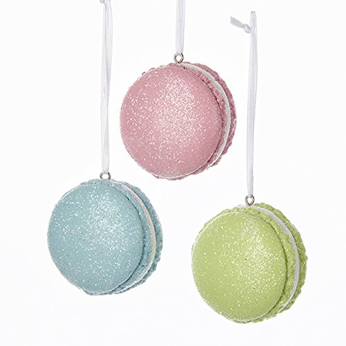 Kurt Adler PASTEL GLITTERED MACAROON ORNAMENT - 3 ASSORTED