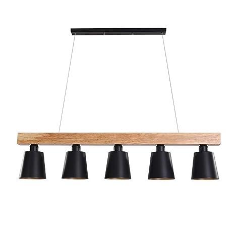 HONY-LIGHT Lámpara Colgante De Madera Retro Mesa De Comedor 5 ...