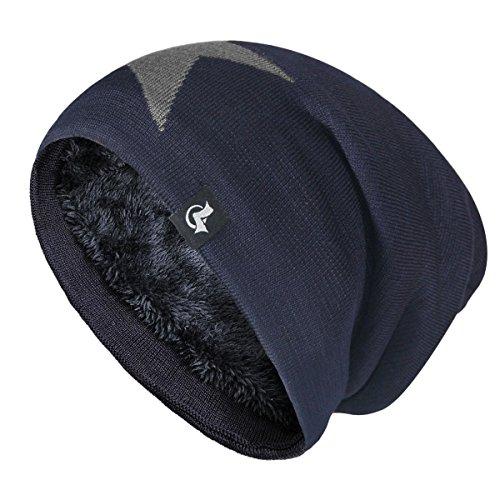 LETHMIK Slouchy Star Long Beanie Warm Fleece Winter Ski Skull Cap Knit Hat for Men & Women Navy ()