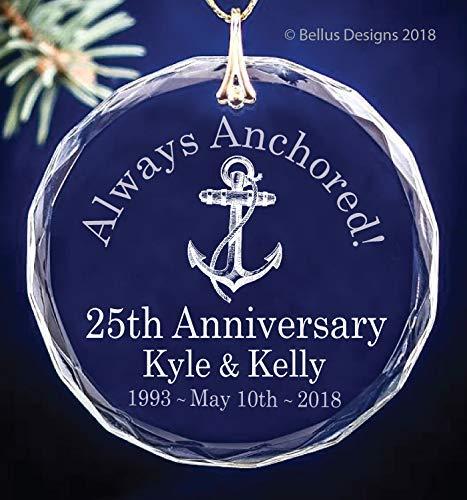 25th Silver Wedding Anniversary Christmas Ornament Keepsake Circle