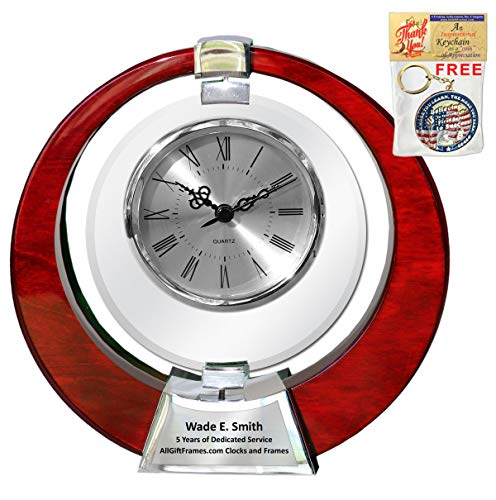 Saturn Cherry Wood Clock Glass Swivel Engraved Table desk clock retirement gift anniversary employee recognition 360 degree spinning glass promotion appreciation service award wedding