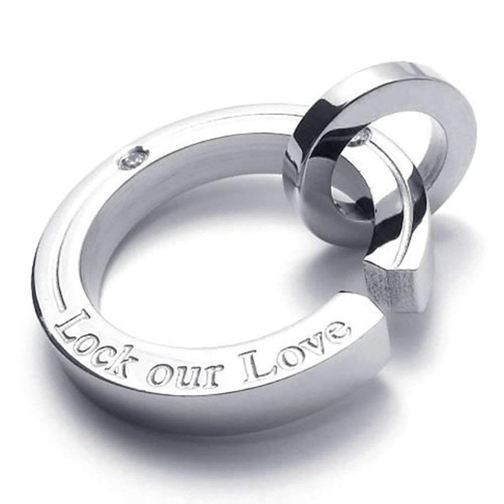TTLElife Stainless Steel Fashion Men Women Necklace Pendant Lock Our Love Rings Link Fit