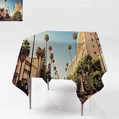 DILITECK Fabric Dust-Proof Table Cover Urban A Street in Beverly Hills California Palm Trees Houses Famous City Photo for Kitchen Dinning Tabletop Decoration W70 xL70 Light Blue Peach Green (Beverly Fabrics)