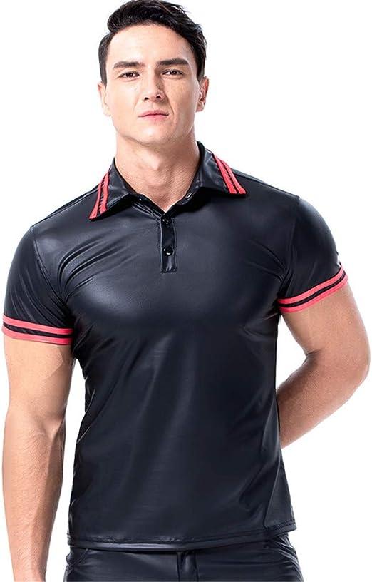 AFYH Camisa de Lentejuelas para Hombres, Camiseta de Charol para Hombres, Camiseta Negra con Escote en V para Casual/Entretenimiento/Baile/Fiesta,2XL: Amazon.es: Hogar