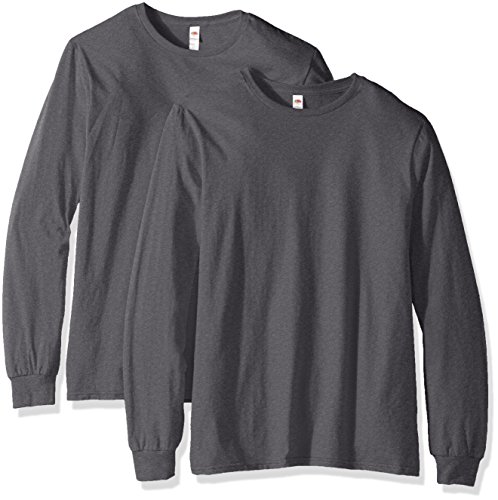Fruit of the Loom Men's Long Sleeve T-Shirt (2 Pack), Charcoal, Large