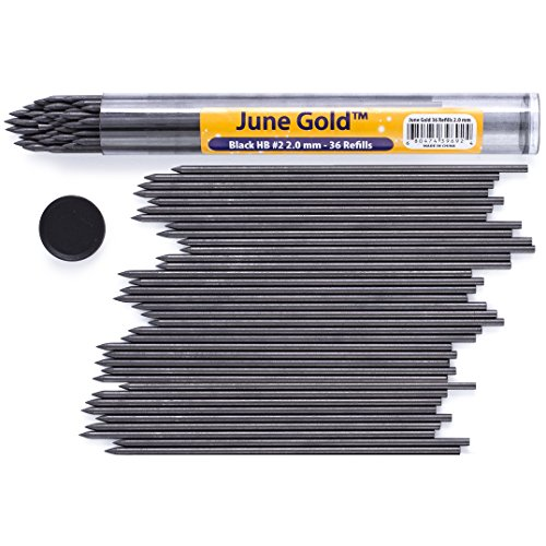 June Gold 36 Lead Refills, 2.0 mm HB #2, Extra Bold Thickness, Break Resistant Lead (Graphite) with a Convenient Dispenser (Drafting Lead Pencil Holder)