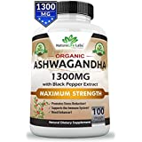 Organic Ashwagandha 1300mg - 100 Vegan Capsules Pure Organic Ashwagandha Root Extract and Powder - Natural