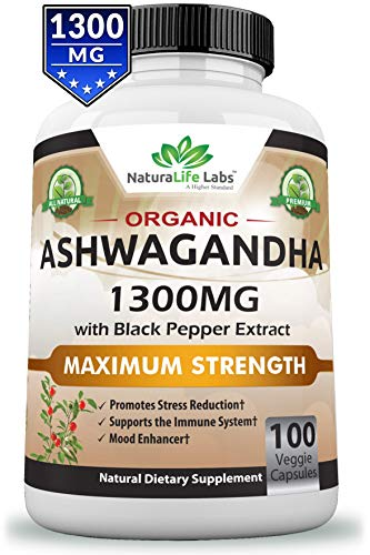 Organic Ashwagandha 1300mg – 100 Vegan Capsules Pure Organic Ashwagandha Root Extract and Powder – Natural Anxiety Relief, Mood Enhancer, Immune & Thyroid Support, Anti Anxiety Review