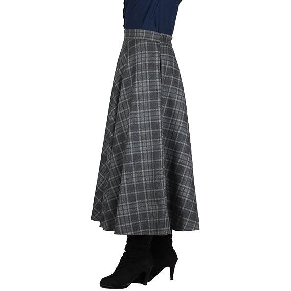 NiSeng Falda Larga Mujer Cintura Elástica Talla Grande A-Line ...