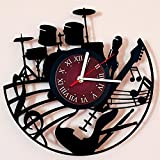Guitar Drums Vinyl Record Design Wall Clock – Rock Band Music Art – Best gift for him and her – man, woman, boyfriend and girlfriend Review