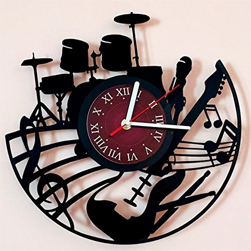 Guitar Drums Vinyl Record Design Wall Clock - Rock Band Music Art - Best gift for him and her - man, woman, boyfriend and girlfriend