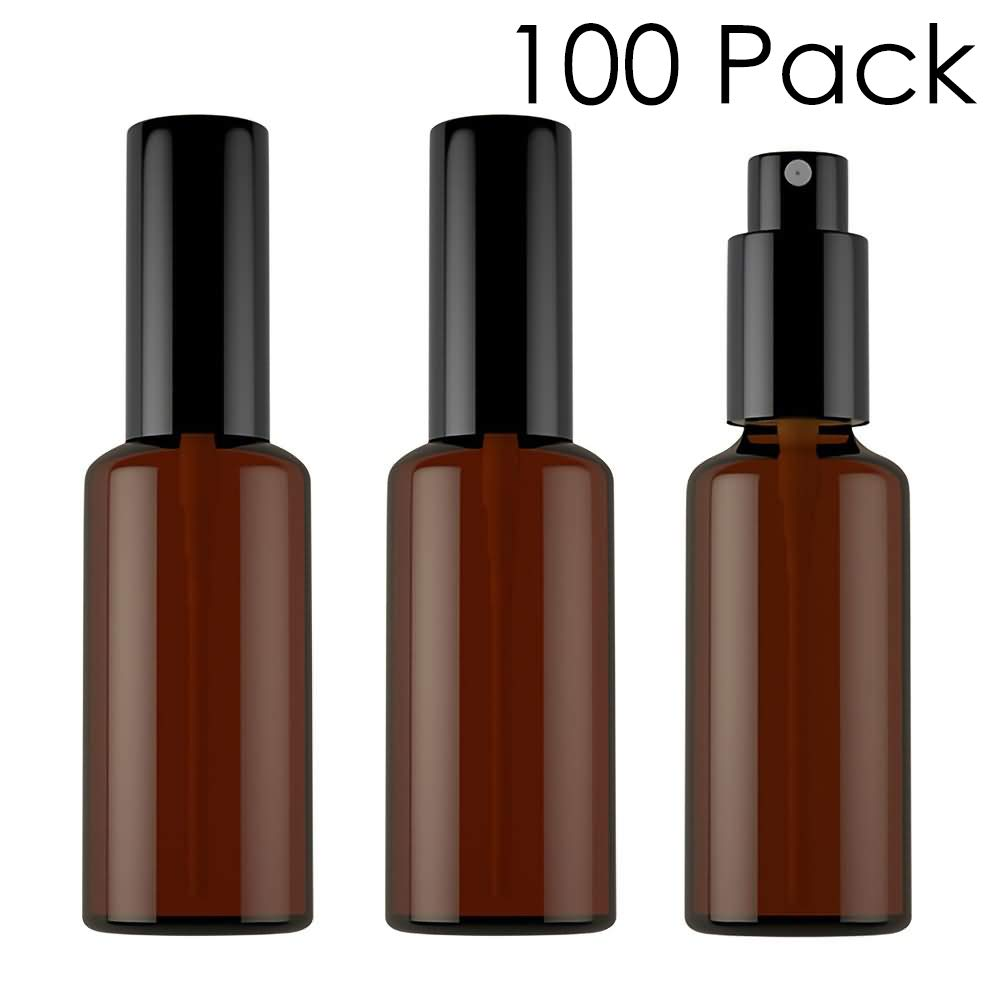 DLIBUY (Pack of 100) 50ML Empty Refillable Amber Glass Mist Spray Bottles With Black Lid For Perfume Essential Oil Soothing Toner-Travel
