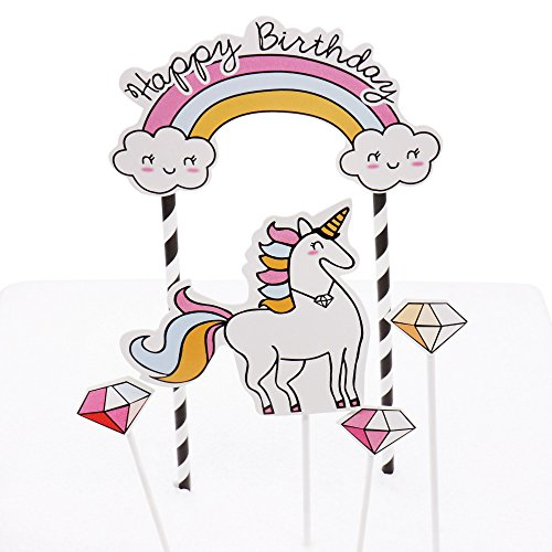 Rainbow Unicorn Birthday Cake Cupcake Topper Set - Girls Unicorn Happy Birthday Party Decorations Favors Kit - Unicorn Princess Quinceañera Supplies Essentials Accessories Item Kid Gift Bag Photo Prop for $<!--$11.95-->