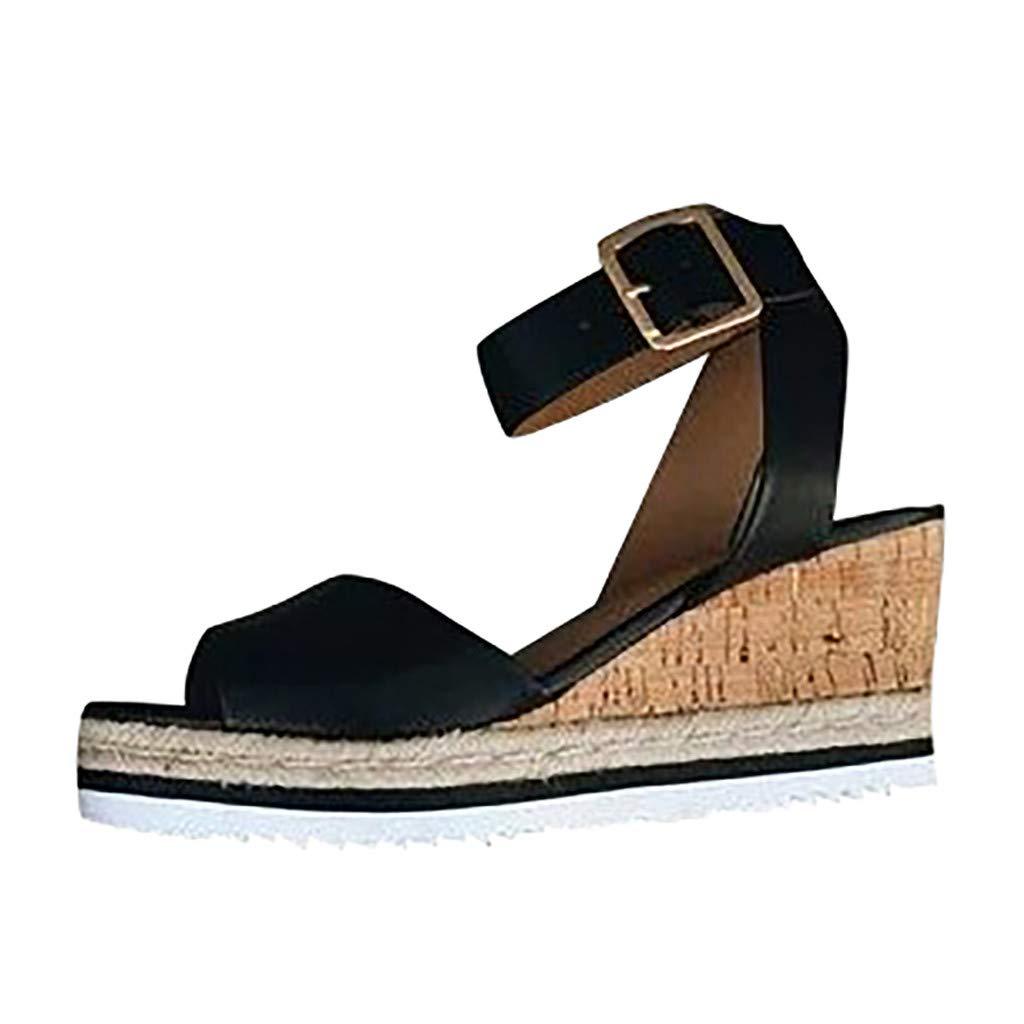 refulgence Women Hight Wedges Sandals, Summer Fashion Buckle Strap Shoes Retro Peep Toe Sandals(Black,US=5)