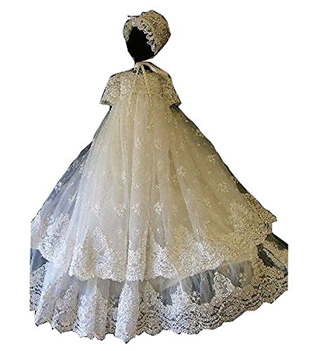 - Unisex Baby Short Sleeve Long White Lace Applique Infant Toddler Christening Gowns with Bonnet,PR