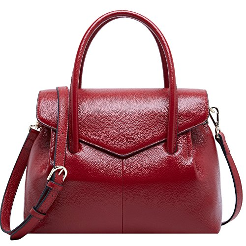Leather Top Handle Purse Red Handbags Women BOYATU for Wine Tote Bags Bag Ladies Designer U684qxw
