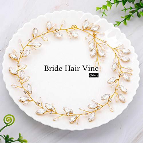 Catery Bride Wedding Headband Crystal Bead Hair Vine Bridal Hair Accessories for Women and Girlss for Women and Girls (Gold)]()