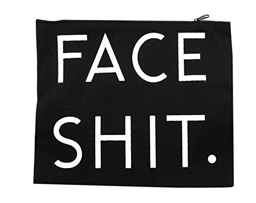 Price comparison product image StylesILove 3D Printed Face Shit Canvas Traveler Organizer Cosmetic Makeup Bag (Black)