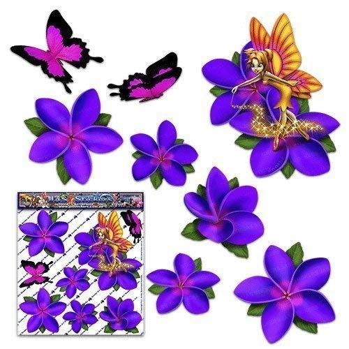 Fata fantasia frangipani plumeria fiore viola + farfalla auto adesivi auto - ST00062PL_SML - JAS Stickers