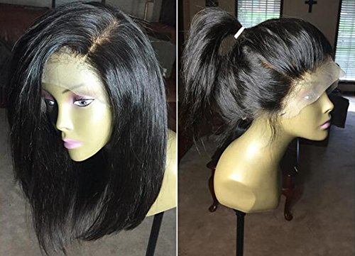 Indian Hair Wigs (Alice Hair Short Straight Bob Wig Human Hair Pre Plucked Lace Front Wigs With Baby Hair Indian Virgin Hair Wigs For Black Women Bleached Knots (12 Inch, Lace Front Wig))
