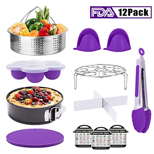 Instant Pot Accessories, Pressure Cooker Accessories Set for Instant Pot 5,6,8 Qt with Steamer Basket/Springform Pan/Egg Bites Mold/3 Magnetic Cheat Sheets/Egg Rack/Kitchen Tongs/Oven Mitts, 12pcs