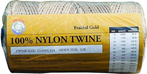 Lee Fisher Gold Braided Nylon Twine (1-Pound), 350-Feet