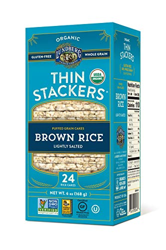 Lundberg Family Farms Organic Thin Stackers Rice Cakes, Lightly Salted, 6 Ounce, 6 Count