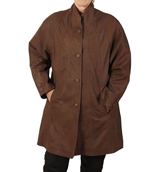 Amazon.com: Simons Leather Women's 3/4 Length Leather Swing Coat ...