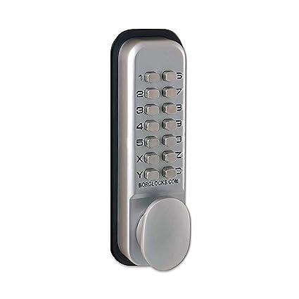 Borg 2201 Digital Push Button Door Lock with Holdback in Satin Chrome
