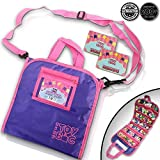Holds 200 - Tiny Toy Bag Shopkins Storage Carrier Organizer Container - Collectors Carrying Tote Compatible W/ Mini Toys Colleggtibles LoL Fash'ems Tsum Tsum Hot Wheels (Purple)