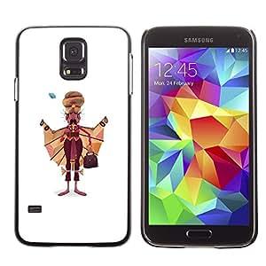 GOODTHINGS ( NO PARA S5 Mini ) Funda Imagen Diseño Carcasa Tapa Trasera Negro Cover Skin Case para Samsung Galaxy S5 SM-G900 - Hombre sikh arte dibujo India sijismo vestimenta