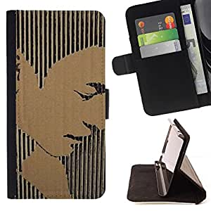 Momo Phone Case / Flip Funda de Cuero Case Cover - Portrait Man Stripes Art - Samsung Galaxy S6 Active G890A