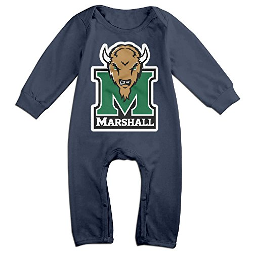 Price comparison product image OOKOO Baby's Marshall University Thundering Herd Bodysuits Outfits Navy 12 Months