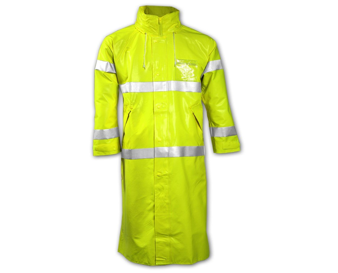 Brite Safety Style 5214 FR Safety Raingear | Hi Vis Rain Coat with Hood | Waterproof | Flame Resistant | ANSI 107 Class 3 Compliant (2X-Large, Hi Vis Yellow)
