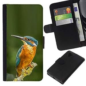 KingStore / Leather Etui en cuir / LG Nexus 5 D820 D821 / Direction Bleu Vert Jaune